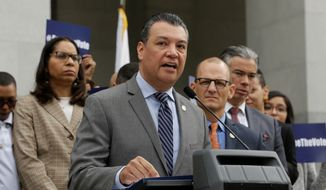 California Secretary of State Alex Padilla talks during a news conference Monday, Jan. 28, 2019, at the Capitol in Sacramento, Calif. (AP Photo/Rich Pedroncelli, File)