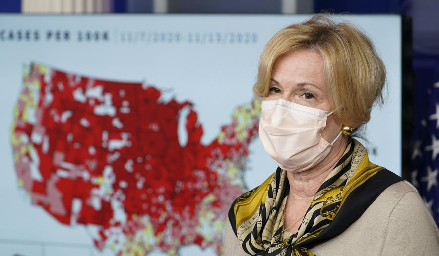 In this Nov. 19, 2020, file photo, White House coronavirus response coordinator Dr. Deborah Birx speaks during a news conference with the coronavirus task force at the White House in Washington. (AP Photo/Susan Walsh) ** FILE **