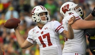 FILE - In this Jan. 1, 2020, file photo, Wisconsin quarterback Jack Coan passes against Oregon during first half of the Rose Bowl NCAA college football game in Pasadena, Calif. Coan has entered the transfer portal after an injury-riddled season in which he did not play. (AP Photo/Mark J. Terrill, File)