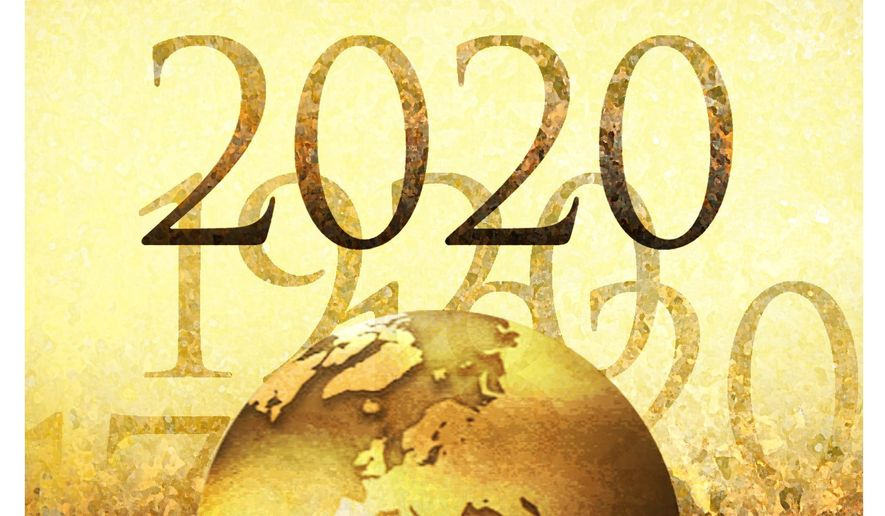 Illustration on the state of the world in 2020 by Alexander Hunter/The Washington Times