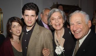 Michelle and Max Brooks with his parents Anne Bancroft and Mel Brooks. (Photo courtesy of Max Brooks.)