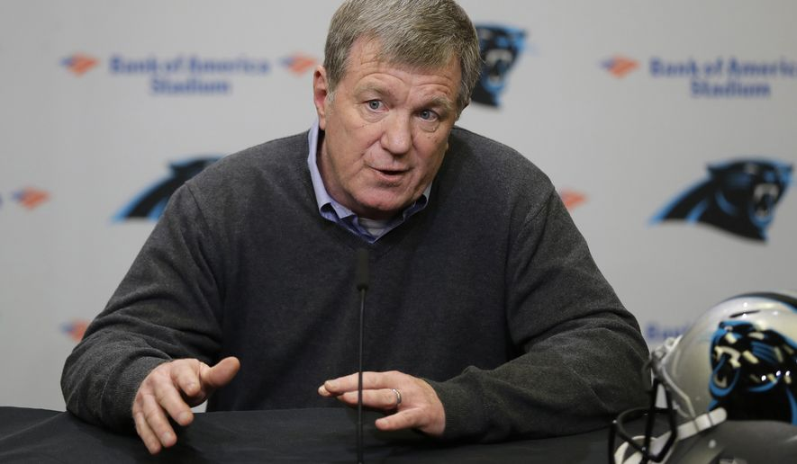 FILE - In this April 17, 2019, file photo, Carolina Panthers general manager Marty Hurney speaks to the media in Charlotte, N.C. The Panthers have fired Hurney after the team lost eight of its last nine games and failed to make the playoffs for a third straight season. Hurney's contract was set to expire after the season. (AP Photo/Chuck Burton, File)