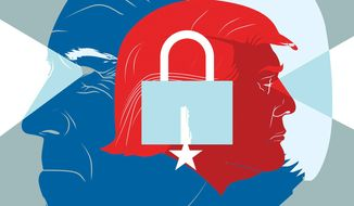 Illustration on American cyber-security by Linas Garsys/The Washington Times