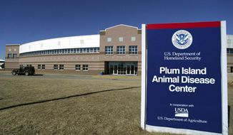 The Plum Island Animal Disease Center on Plum Island, N.Y. is shown, Feb. 16, 2004. Congress has repealed a mandate that would have required the government sell the island in Long Island Sound that for years has housed a government animal disease research facility. The move is a victory for conservationists, who have fought to prevent development on Plum Island, home to rare birds, sea turtles and other animals. (AP Photo/Ed Betz, File)
