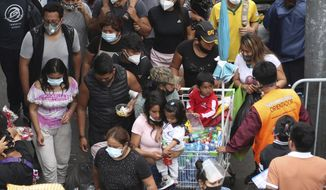 Pedestrians wearing face masks amid the COVID-19 pandemic walk in the Mesa Redonda Market, a popular spot for Christmas shopping in Lima, Peru, Friday, Dec. 18, 2020. Peru's Health Ministry has announced on Tuesday, Dec. 22, that it has surpassed 1 million confirmed cases of the new coronavirus. (AP Photo/Martin Mejia, File)