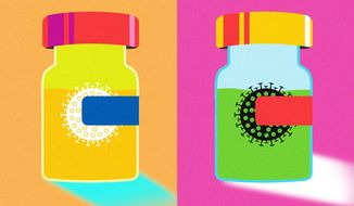 Illustration on COVID-19 vaccines by Linas Garsys/The Washington Times