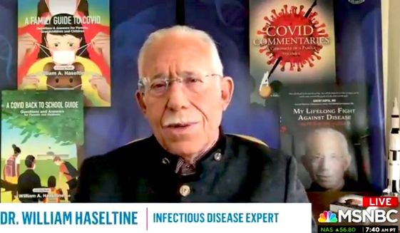"""MSNBC guest Dr. William Haseltine warns viewers to steel themselves for a possible """"decades-long battle"""" with COVID-19 and its various strains, Dec. 24, 2020. (Image: MSNBC video screenshot)"""