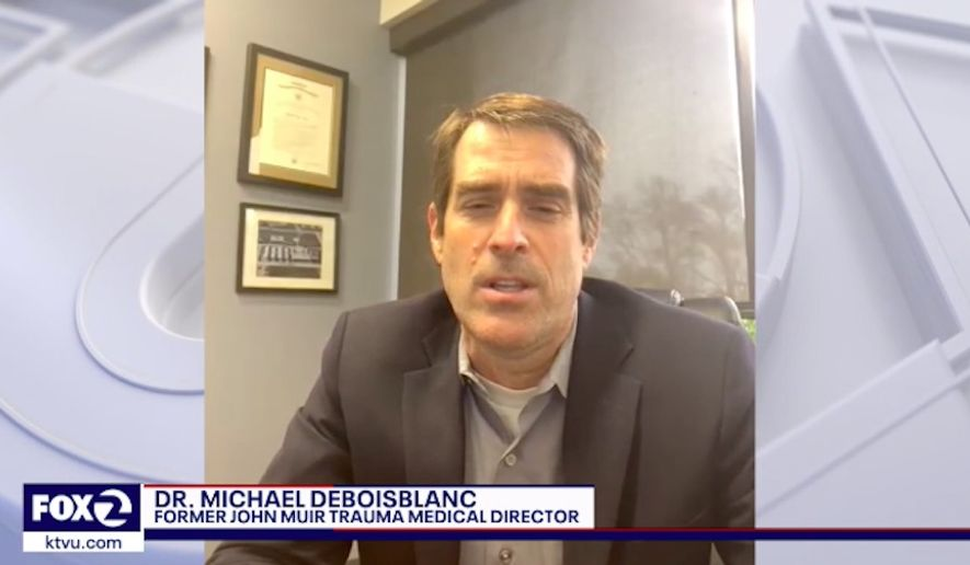 Dr. Michael deBoisblanc, the former medical director of trauma and regional transfer services at John Muir Health in Walnut Creek, California, was removed from his position after co-writing a letter that pointed out the negative health impacts of coronavirus-related lockdown measures. (Sceenshot via KTVU)