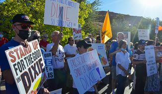 In this undated photo from summer 2020, shows protesters rallying in favor of keeping the nickname Dixie, in St. George, Utah. Some institutions are moving away from the Dixie because of its ties to the confederacy, but there's also pushback brewing among locals who want to appeal to lawmakers to keep it because of its local historical roots. (Lexi Peery/KUER, via AP)
