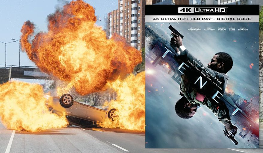 """An explosive scene in Christopher Nolan's """"Tenet"""","""" now available on 4K Ultra HD from Warner Bros. Home Entertainment."""