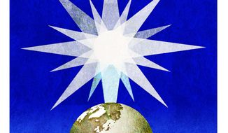 Illustration on the meaning of Christmas by Alexander Hunter/The Washington Times