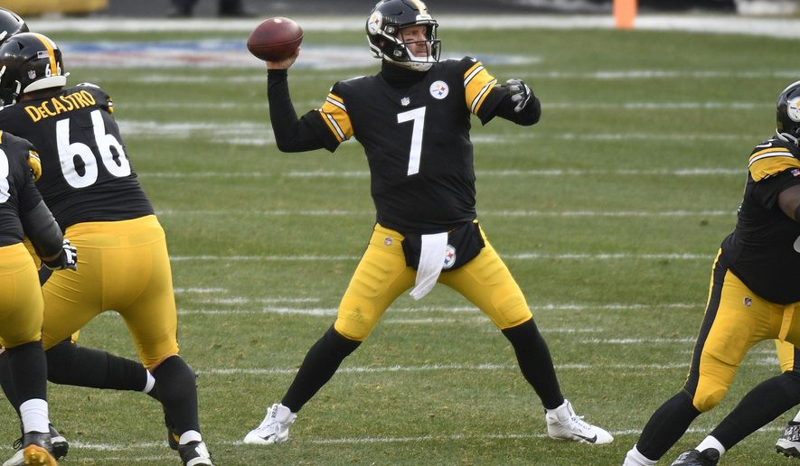Pittsburgh Steelers quarterback Ben Roethlisberger (7) passes against the Indianapolis Colts during the second half of an NFL football game, Sunday, Dec. 27, 2020, in Pittsburgh. (AP Photo/Don Wright)