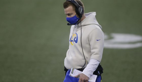 Los Angeles Rams head coach Sean McVay walks on the field late in the fourth quarter of an NFL football game against the Seattle Seahawks, Sunday, Dec. 27, 2020, in Seattle. The Seahawks won 20-9. (AP Photo/Scott Eklund)
