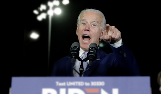 Democratic presidential candidate former Vice President Joe Biden speaks during a primary election night rally Tuesday, March 3, 2020, in Los Angeles. (AP Photo/Marcio Jose Sanchez) Photo edited for Best of 2020 list.