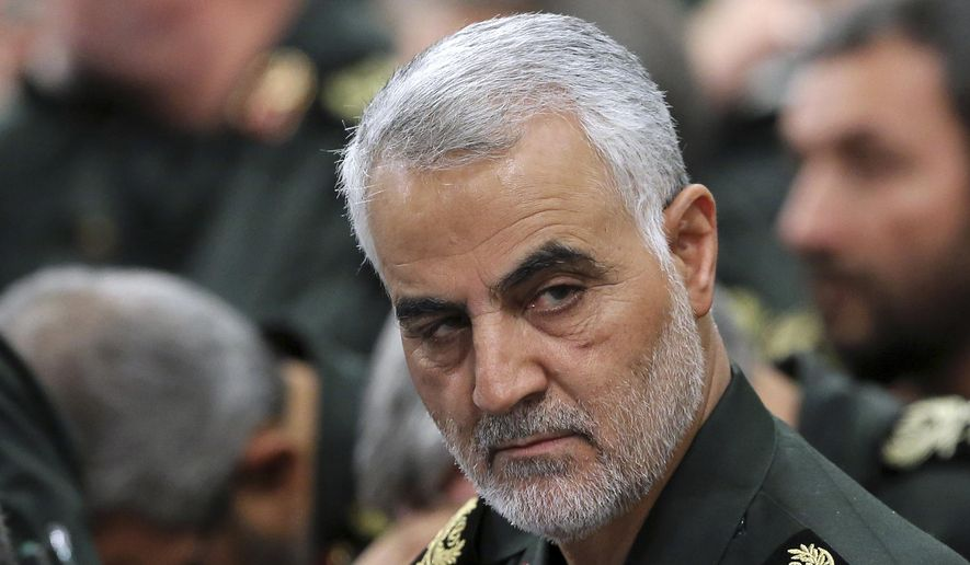 In this Sept. 18, 2016, file photo released by an official website of the office of the Iranian supreme leader, Revolutionary Guard Gen. Qassem Soleimani, center, attends a meeting with Supreme Leader Ayatollah Ali Khamenei and Revolutionary Guard commanders in Tehran, Iran. A U.S. airstrike near Baghdad's airport on Friday, Jan. 3, 2020, killed Gen. Qassem Soleimani, the head of Iran's elite Quds Force. Soleimani was considered the architect of Iran's policy in Syria. (Office of the Iranian Supreme Leader via AP, File) Photo edited for Best of 2020 list.