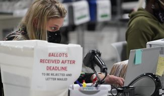 FILE - In this Friday, Nov. 6, 2020, file photo, officials work on ballots at the Gwinnett County Voter Registration and Elections headquarters, in Lawrenceville, near Atlanta. (AP Photo/John Bazemore, File)