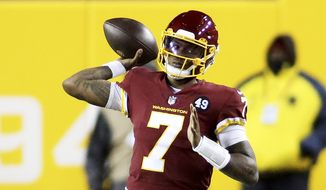 Washington Football Team quarterback Dwayne Haskins (7) in action during an NFL football game against the Carolina Panthers, Sunday, Dec. 27, 2020 in Landover, Md. (AP Photo/Daniel Kucin Jr.) **FILE**