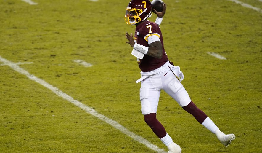 Washington Football Team quarterback Dwayne Haskins throws the ball during an NFL football game against the Carolina Panthers, Sunday, Dec. 27, 2020, in Landover, Md. (AP Photo/Mark Tenally)