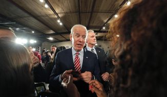 In this Tuesday, Feb. 11, 2020, file photo, Democratic presidential candidate, former Vice President Joe Biden, greets supporters after speaking at a campaign event in Columbia, S.C. (AP Photo/Gerald Herbert) ** FILE **