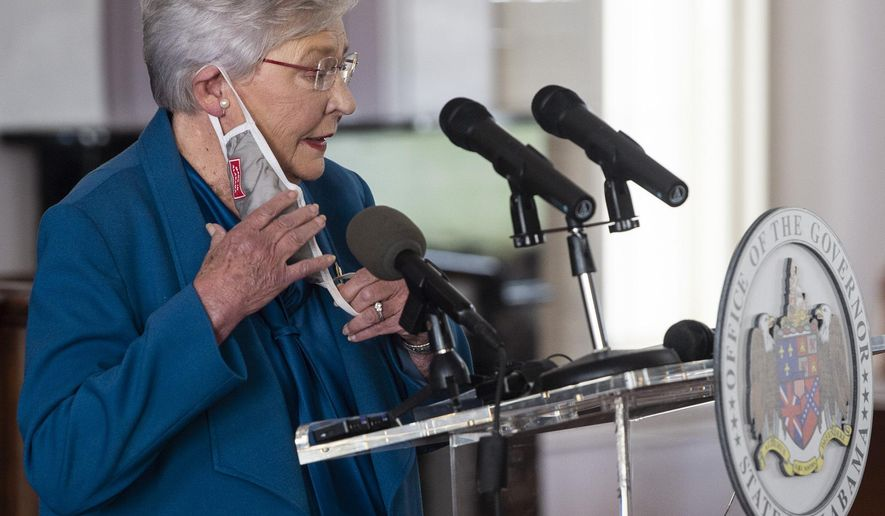 FILE - In this Nov. 5, 2020 file photo, Gov. Kay Ivey speaks during a news conference update on COVID-19 restrictions at the Alabama State Capitol in Montgomery, Ala. (Jake Crandall/The Montgomery Advertiser via AP, File)