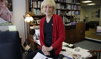 """FILE - """"60 Minutes"""" correspondent Lesley Stahl poses for a photo in her office at the """"60 Minutes"""" offices, in New York on Sept. 12, 2017. CBS' pioneering newsmagazine is consistently one of the most-watched programs on television and its viewership is up 9 percent over last year, the Nielsen company said. That's not only more than any other prime-time program on ABC, CBS, NBC and Fox, it's also one of only four on those networks to show a year-to-year increase. (AP Photo/Richard Drew, File)"""