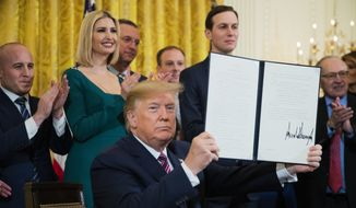President Donald Trump shows the executive order he signed targeting what his administration says is growing anti-Semitism on U.S. college campuses during a Hanukkah reception in the East Room of the White House in Washington on Wednesday, Dec. 11, 2019. (AP Photo/Manuel Balce Ceneta) **FILE**