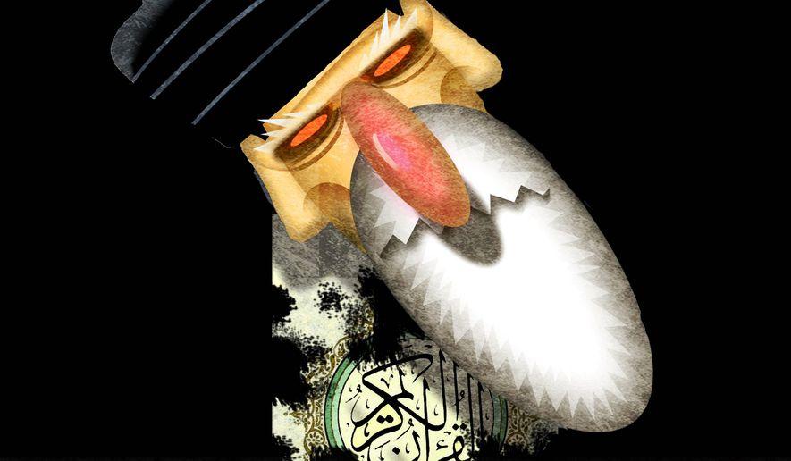 Illustration on failing Islamist faith in Iran by Alexander Hunter/The Washington Times