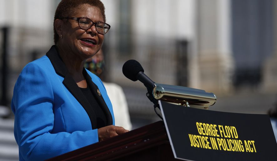 In this June 25, 2020, file photo Rep. Karen Bass, D-Calif., speaks during a news conference on the House East Front Steps on Capitol Hill in Washington. (AP Photo/Carolyn Kaster, File)