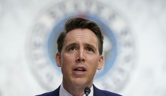 In this Oct. 12, 2020, photo Sen. Josh Hawley, R-Mo., speaks during a confirmation hearing for Supreme Court nominee Amy Coney Barrett before the Senate Judiciary Committee on Capitol Hill in Washington. Hawley, says he will raise objections next week when the Congress meets to affirm President-elect Joe Bidens victory in the election, forcing House and Senate votes that are likely to delay but in no way alter the final certification of Biden's win.(AP Photo/Susan Walsh, Pool) **FILE**