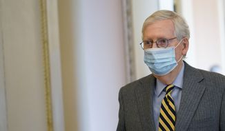 Senate Majority Leader Mitch McConnell of Ky., walks to the Senate floor on Capitol Hill in Washington, Wednesday, Dec. 30, 2020. (AP Photo/Susan Walsh)