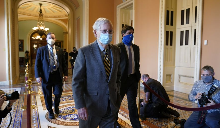 Senate Majority Leader Mitch McConnell of Ky., walks back to his office on Capitol Hill in Washington, Wednesday, Dec. 30, 2020. (AP Photo/Susan Walsh)  **FILE**
