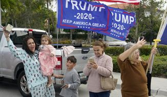 Supporters of President Donald Trump stand on the side of a road as Trump's motorcade passes by, Wednesday, Dec. 30, 2020, in West Palm Beach, Fla. Trump is returning to his Mar-a-Lago resort in Palm Beach, Fla., after visiting Trump International Golf Club. (AP Photo/Patrick Semansky)