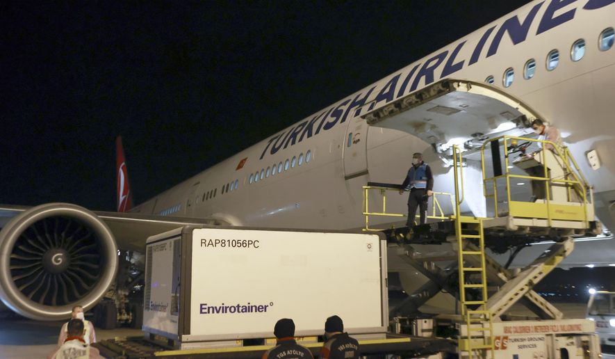 In this photo provided by Turkish Health Ministry, officials unload the first batch of COVID-19 vaccine, CoronaVac, a so-called inactivated vaccine developed by Chinese biopharmaceutical company Sinovac Biotech, at Esenboga Airport, in Ankara, Turkey, early Wednesday, Dec. 30, 2020. Turkey has signed a deal for 50 million doses of the vaccine with Sinovac Biotech. (Turkish Health Ministry via AP)
