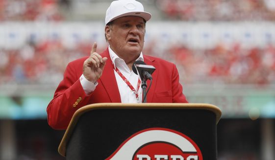 FILE - In this June 17, 2017, file photo, former Cincinnati Reds player Pete Rose speaks during his statue dedication ceremonies before a baseball game between the Reds and the Los Angeles Dodgers in Cincinnati. (AP Photo/John Minchillo, File)