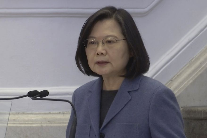 In this image from video, Taiwanese President Tsai Ing-wen delivers a speech at the Office of the President in Taipei, Taiwan, Friday, Jan. 1, 2021. Tsai hailed the island's progress in containing the coronavirus pandemic and growing the economy while facing military threats from China. (AP Photo/Wu Taijing) ** FILE **