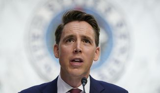 Sen. Josh Hawley speaks during a confirmation hearing for Supreme Court nominee Amy Coney Barrett before the Senate Judiciary Committee on Capitol Hill in Washington.(AP Photo/Susan Walsh, Pool, File)
