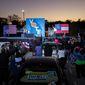 Vice President-elect Kamala D. Harris campaigned Sunday with Georgia Democrats Raphael Warnock (left) and Jon Ossoff. President Trump and President-elect Joseph R. Biden will rally runoff voters Monday. (Associated Press)