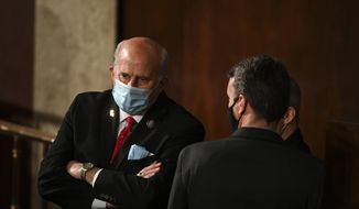 Rep. Louie Gohmert, R-Texas, speaks with others on opening day of the 117th Congress at the U.S. Capitol in Washington, Sunday, Jan. 3, 2021. (Bill O'Leary/The Washington Post via AP, Pool) ** FILE **