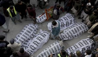 People from the Shiite Hazara community gather around the bodies of coal mine workers who were killed by unknown gunmen near the Machh coal field, in Quetta, Pakistan, Sunday, Jan. 3, 2021. Gunmen opened fire on a group of minority Shiite Hazara coal miners after abducting them, killing 11 in southwestern Baluchistan province early Sunday, a Pakistani official said. (AP Photo/Arshad Butt)