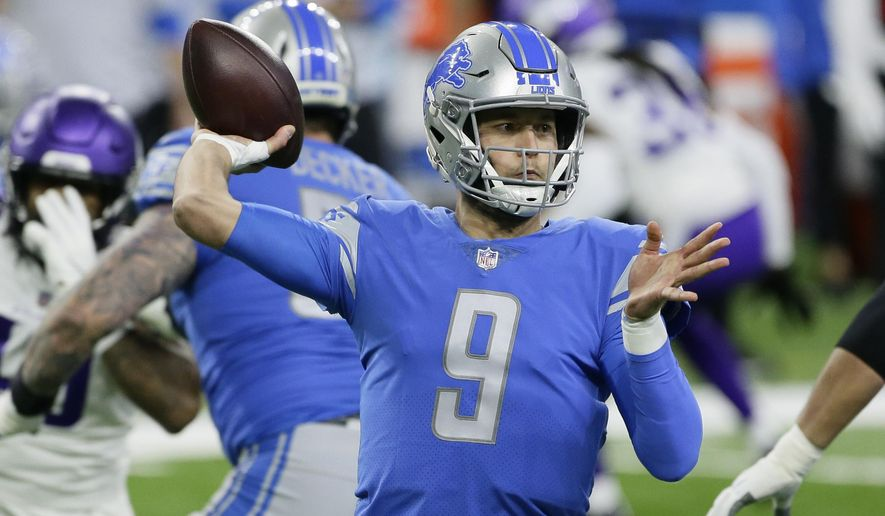Detroit Lions quarterback Matthew Stafford throws during the first half of an NFL football gameagainst the Minnesota Vikings, Sunday, Jan. 3, 2021, in Detroit. (AP Photo/Duane Burleson)