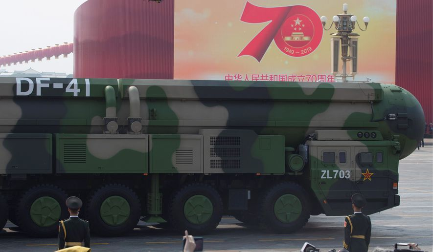 """Today, China allows no such transparency for the world's fastest-growing nuclear arsenal,"" wrote Secretary of State Mike Pompeo and Marshall Billingslea, the special presidential envoy for arms control, in an op-ed for Newsweek on Monday. (ASSOCIATED PRESS)"