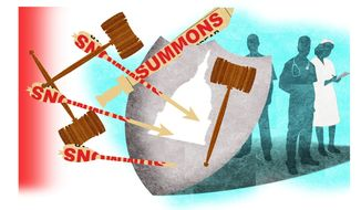 Illustration on protecting medical personnel from lawsuits by Alexander Hunter/The Washington Times
