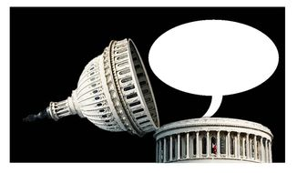 Illustration on empty bromides from government by Alexander Hunter/The Washington Times