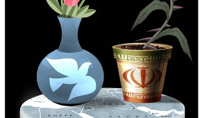 Illustration on the Iran deal by Alexander Hunter/The Washington Times