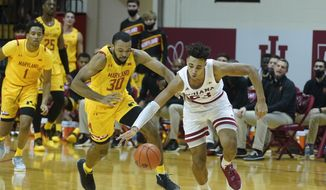 Indiana forward Trayce Jackson-Davis (23) steals the basketball from Maryland forward Galin Smith (30) during the second half of an NCAA college basketball game, Monday, Jan. 4, 2021, in Bloomington, Ind. (AP Photo/Darron Cummings) **FILE**