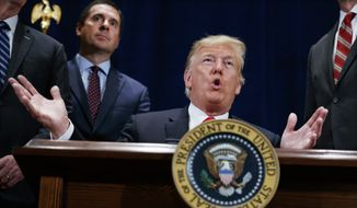 "In this Oct. 19, 2018, file photo, President Donald Trump speaks during a ceremony to sign a ""Presidential Memorandum Promoting the Reliable Supply and Delivery of Water in the West,"" Friday, Oct. 19, 2018, in Scottsdale, Ariz. Standing behind the president is Rep. Devin Nunes, R-Calif. Trump is set to present one of the nation's highest civilian honors to Nunes(AP Photo/Carolyn Kaster)"
