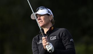 Annika Sorenstam watches her tee shot on the fourth hole during the final round of the PNC Championship golf tournament, Sunday, Dec. 20, 2020, in Orlando, Fla. (AP Photo/Phelan M. Ebenhack) ** FILE **