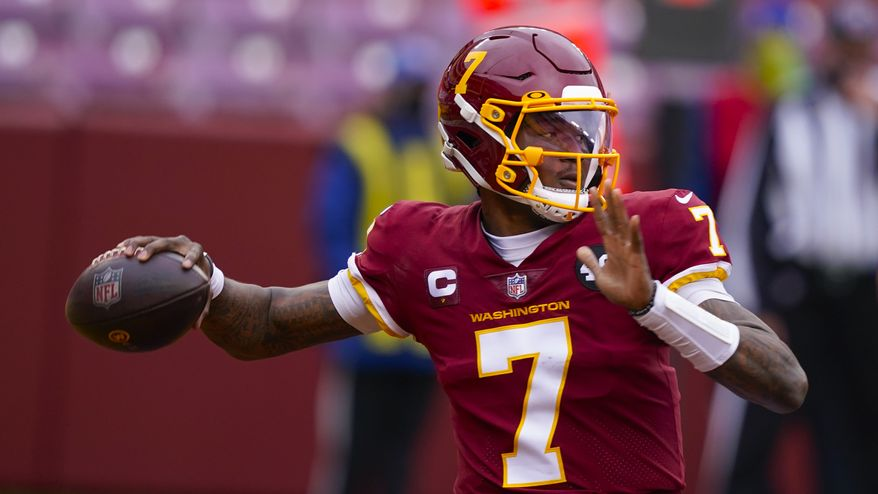 Washington Football Team quarterback Dwayne Haskins (7) looks to pass the ball during the first half of an NFL football game against the Seattle Seahawks, Sunday, Dec. 20, 2020, in Landover, Md. (AP Photo/Susan Walsh) **FILE**