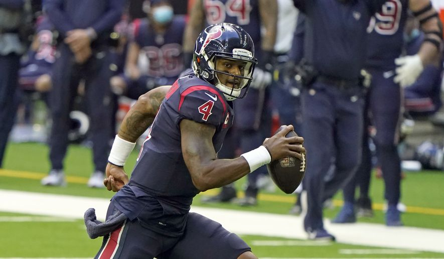 Houston Texans quarterback Deshaun Watson (4) scrambles against the Cincinnati Bengals during an NFL football game Sunday, Dec. 27, 2020, in Houston. (AP Photo/Eric Christian Smith)