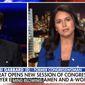 "Hawaii Rep. Tulsi Gabbard talks about the Democratic Party's embrace of gender politics. The Democrat told Fox News' Tucker Carlson that new House rules regarding rhetoric are the ""height of hypocrisy,"" Jan. 4, 2021. (Image: Fox News video screenshot)"